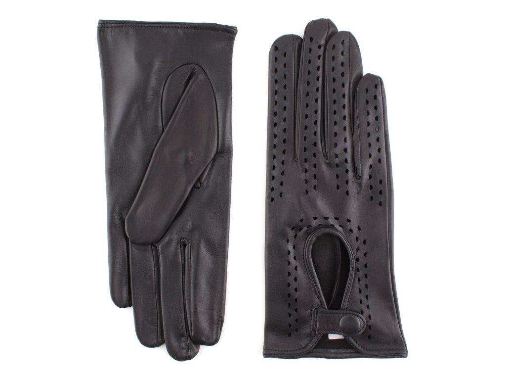 Dámské černé řidičské kožené rukavice bez podšívky - BOHEMIA GLOVES - 813-3034