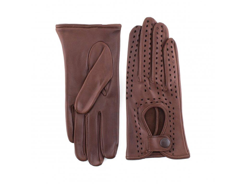 Dámské hnědé řidičské kožené rukavice bez podšívky - BOHEMIA GLOVES - 813-3034