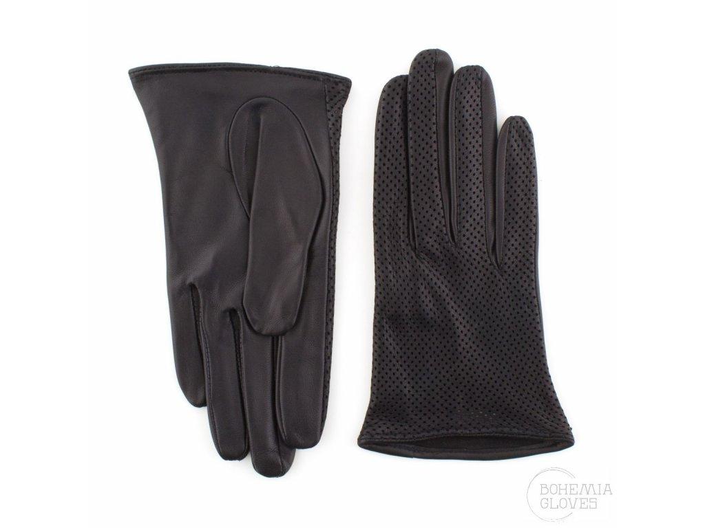 Dámské černé kožené rukavice bez podšívky - BOHEMIA GLOVES - 813-6016