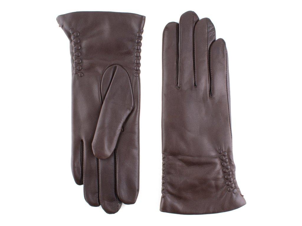 Dámské hnědé kožené rukavice, vlněná podšívka, jemné zdobení - BOHEMIA GLOVES - 814-3297