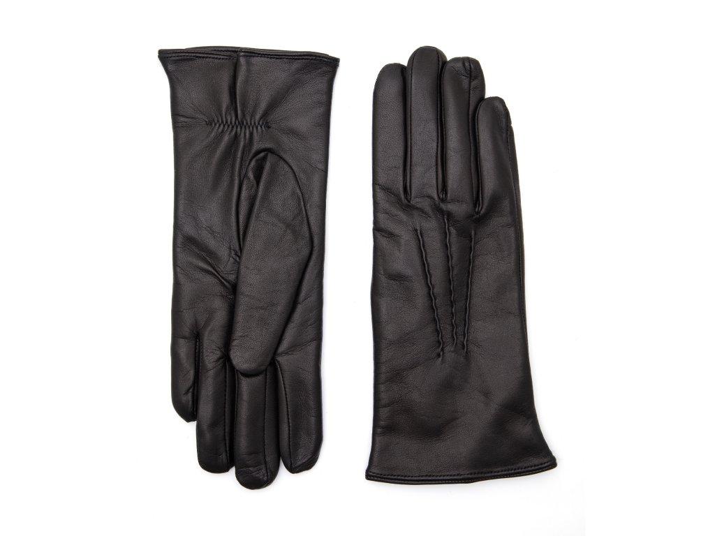 Dámské černé kožené rukavice vlněná podšívka - BOHEMIA GLOVES - 814-6253