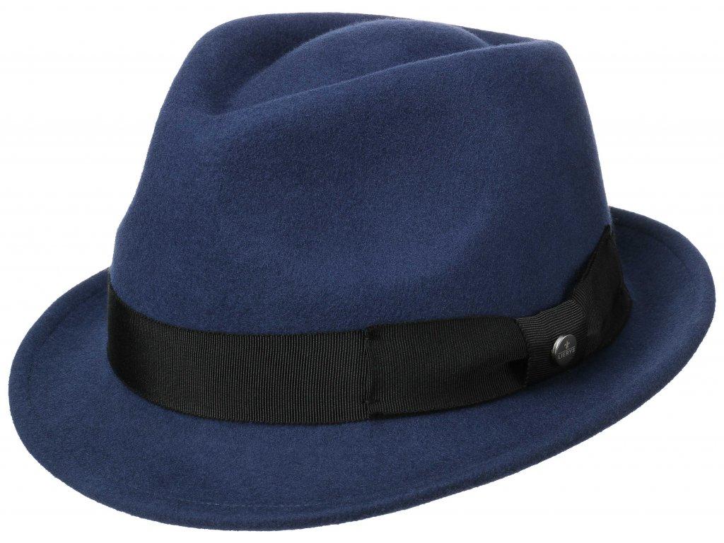 Trilby klobouk vlněný Lierys 1238112 - modrý s černou stuhou