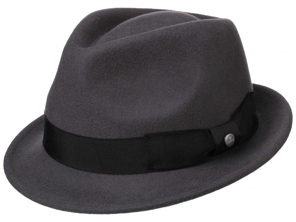 Trilby klobouk vlněný Lierys 1238112 - šedý s černou stuhou