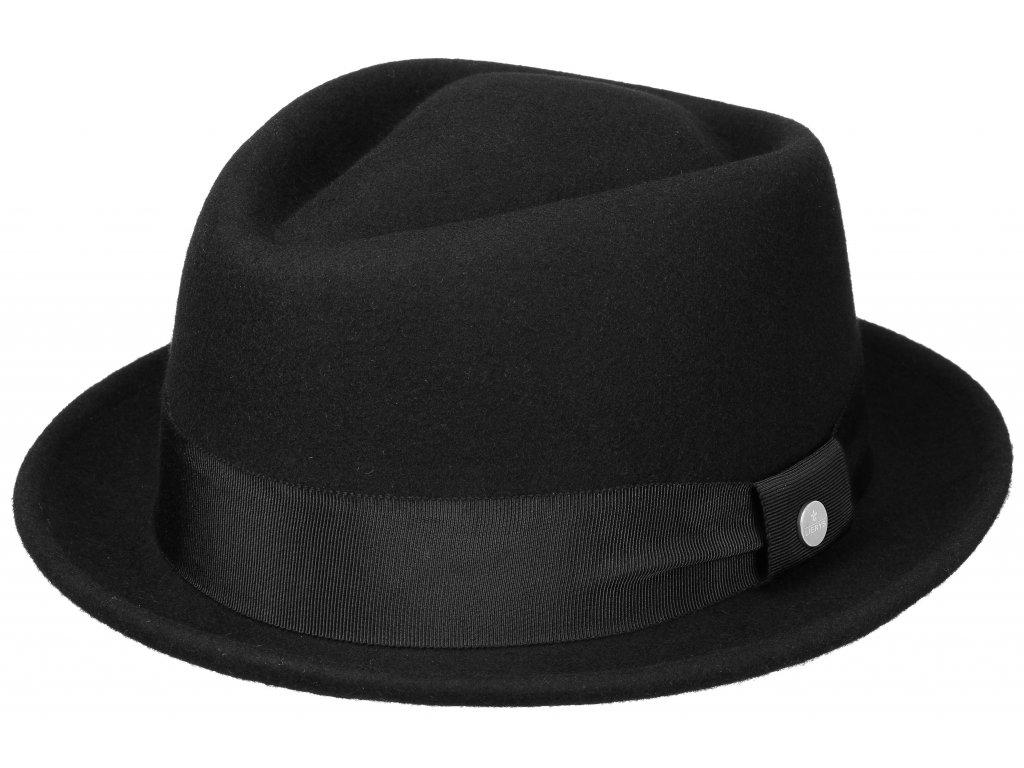 Trilby klobouk vlněný Lierys 1338112 - černý s černou stuhou - Diamond Woolfelt by Lierys