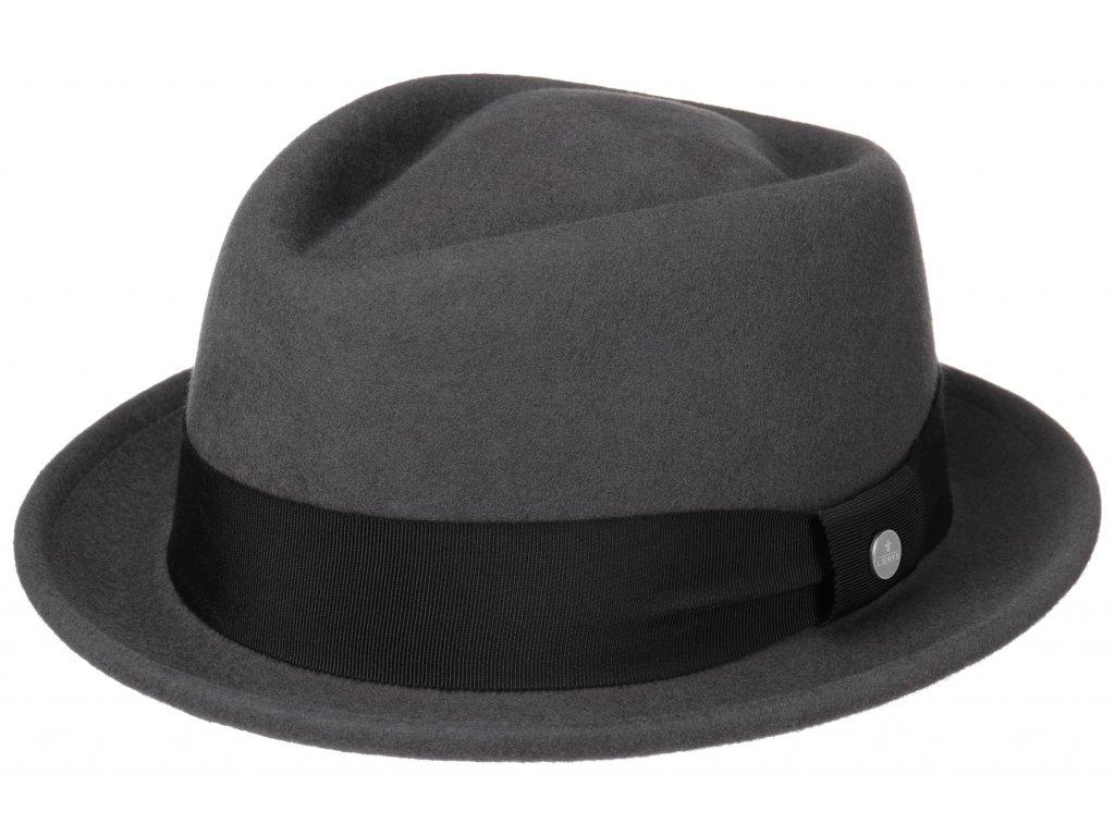 Trilby klobouk vlněný Lierys 1338112 - šedý s černou stuhou - Diamond Woolfelt by Lierys