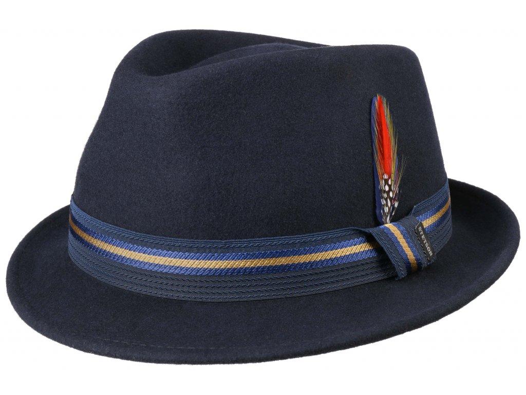 Trilby klobouk vlněný Stetson 1238106 - modrý s dvoubarevnou stuhou - Trilby Woolfelt