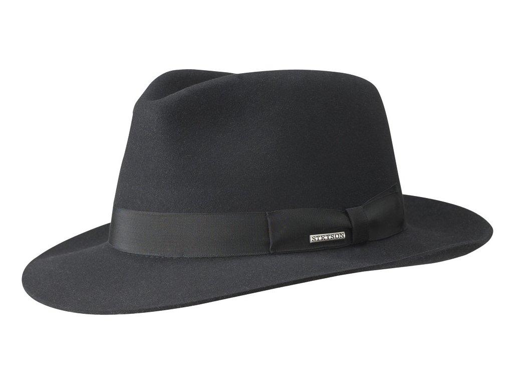 Luxusní černá fedora od Stetson - Fedora Furfelt - černá barva - 2118201