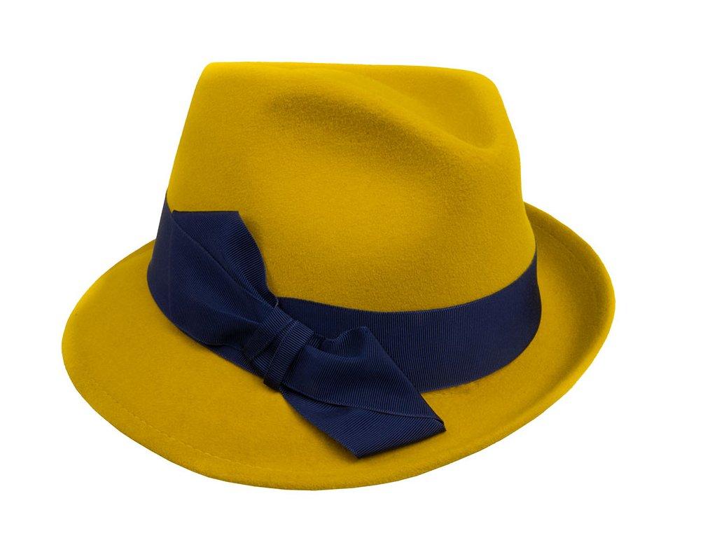 Asymetrický žlutý dámský zámišový klobouk s modrou mašlí - Tonak 53623/19