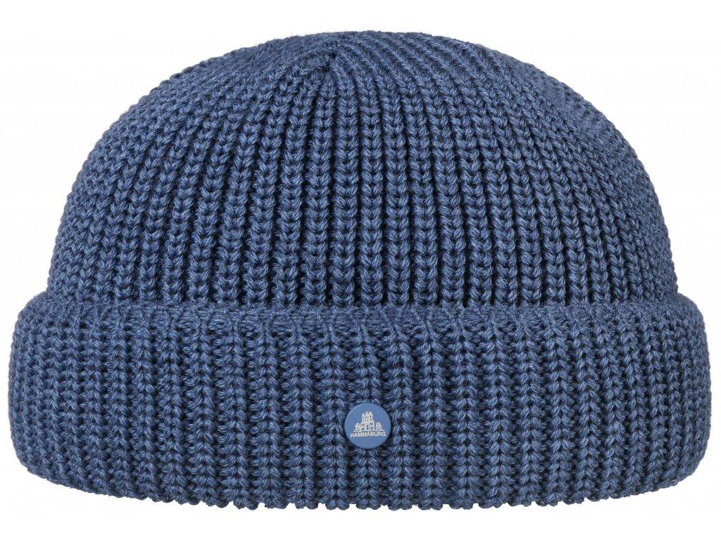 Pletená světlemodrá zimní čepice Stetson - Beanie Hammaburg  - 8599329 - Docker Cap