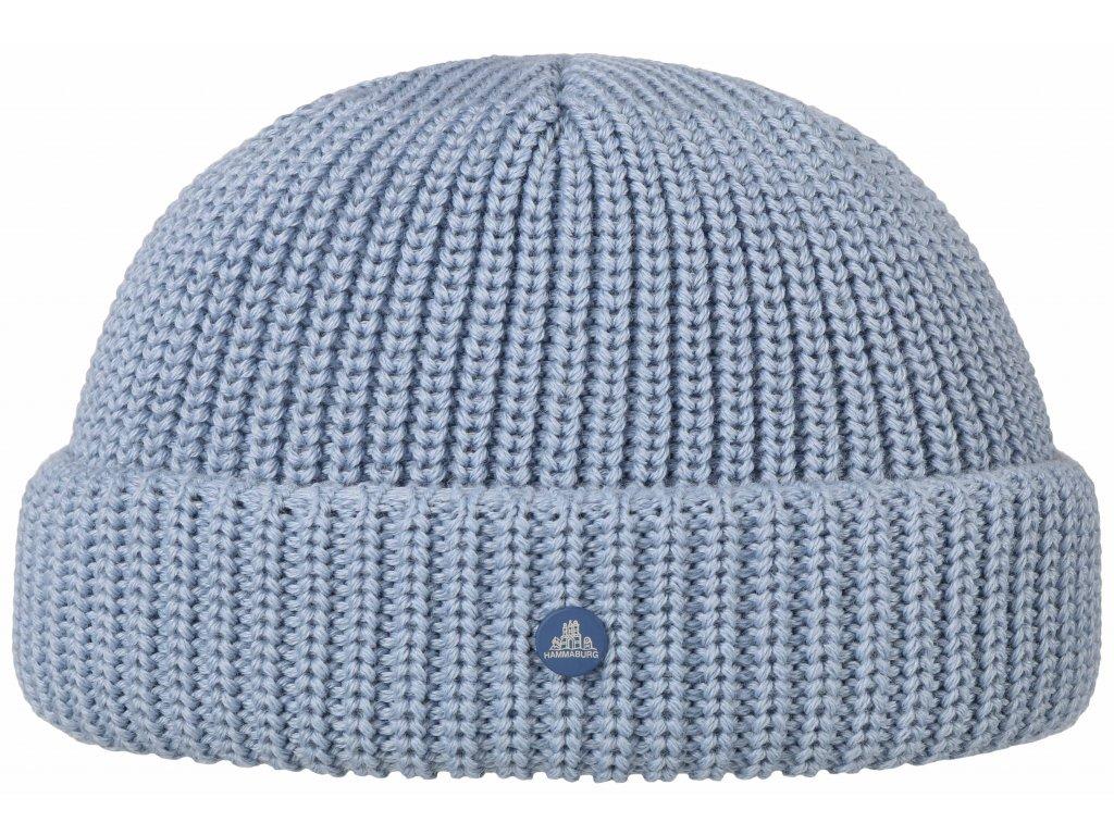 Pletená blankytně modrá zimní čepice Stetson - Beanie Hammaburg  - 8599329 - Docker Cap