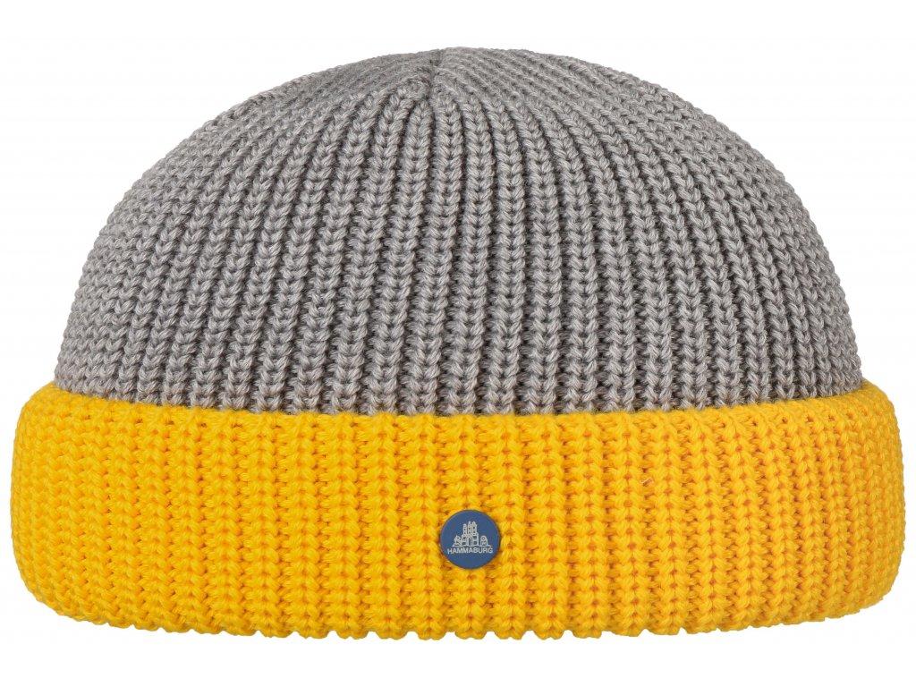 Pletená dvoubarevná šedožlutá zimní čepice Stetson - Beanie Hammaburg  - 8599327 - Docker Cap