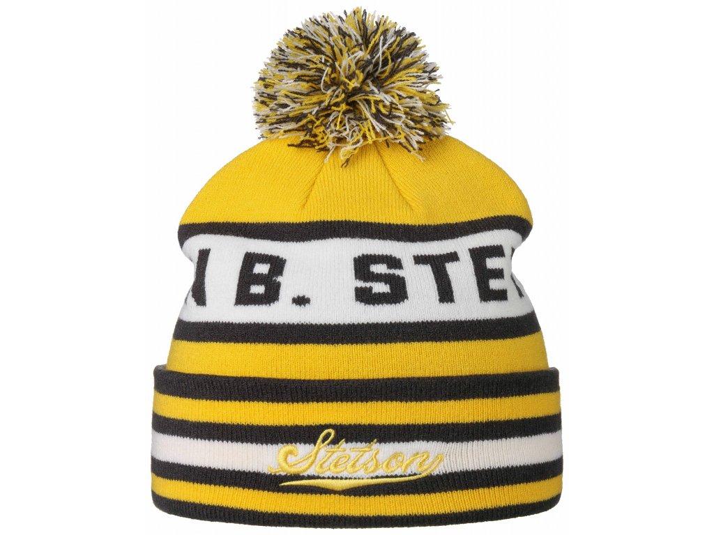 Zimní žlutá čepice s pomponem - Stetson - Beanie Pompom - 8599124