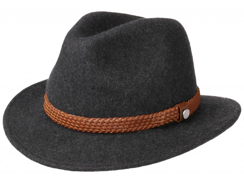 Cestovní klobouk vlněný Lierys 2528120 - šedý s koženou stuhou - širák