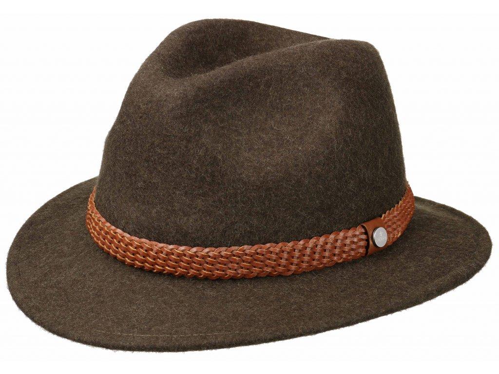 Cestovní klobouk vlněný Lierys 2528120 - hnědý s koženou stuhou - širák