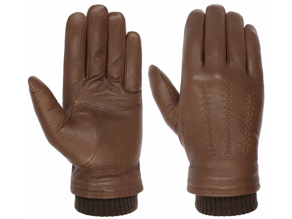 Pánské zimní hnědé rukavice Stetson - 9497217