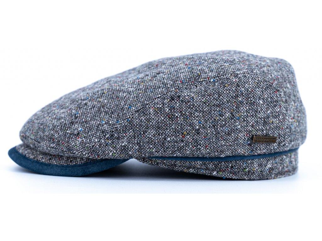 Bekovka zimní šedý tvíd s s koženými detaily - nubuk modrá