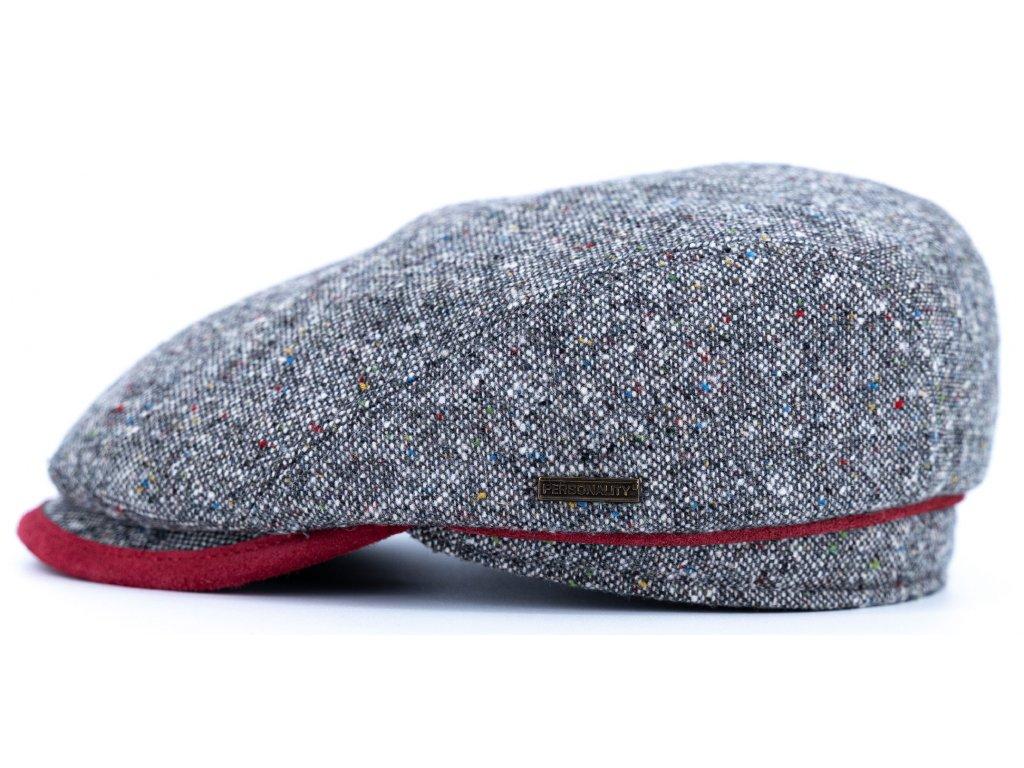 Bekovka zimní šedý tvíd s s koženými detaily - nubuk bordó