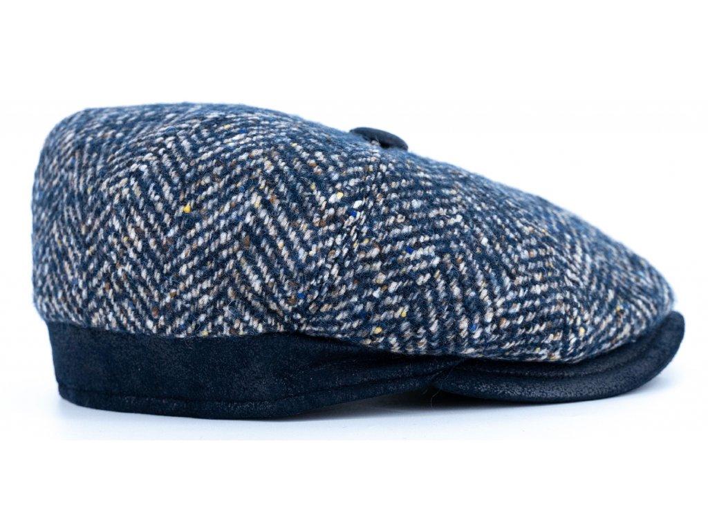 Bekovka zimní šedý tvíd s s koženými detaily - modrá