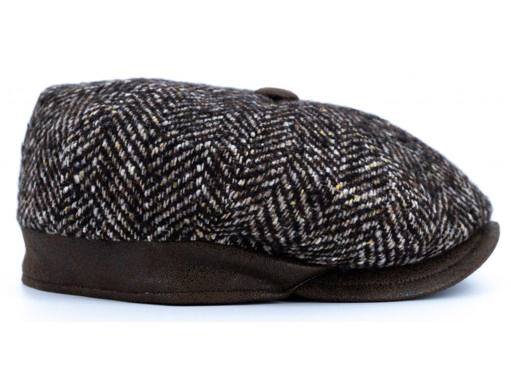 Bekovka zimní šedý tvíd s s koženými detaily - hnědá