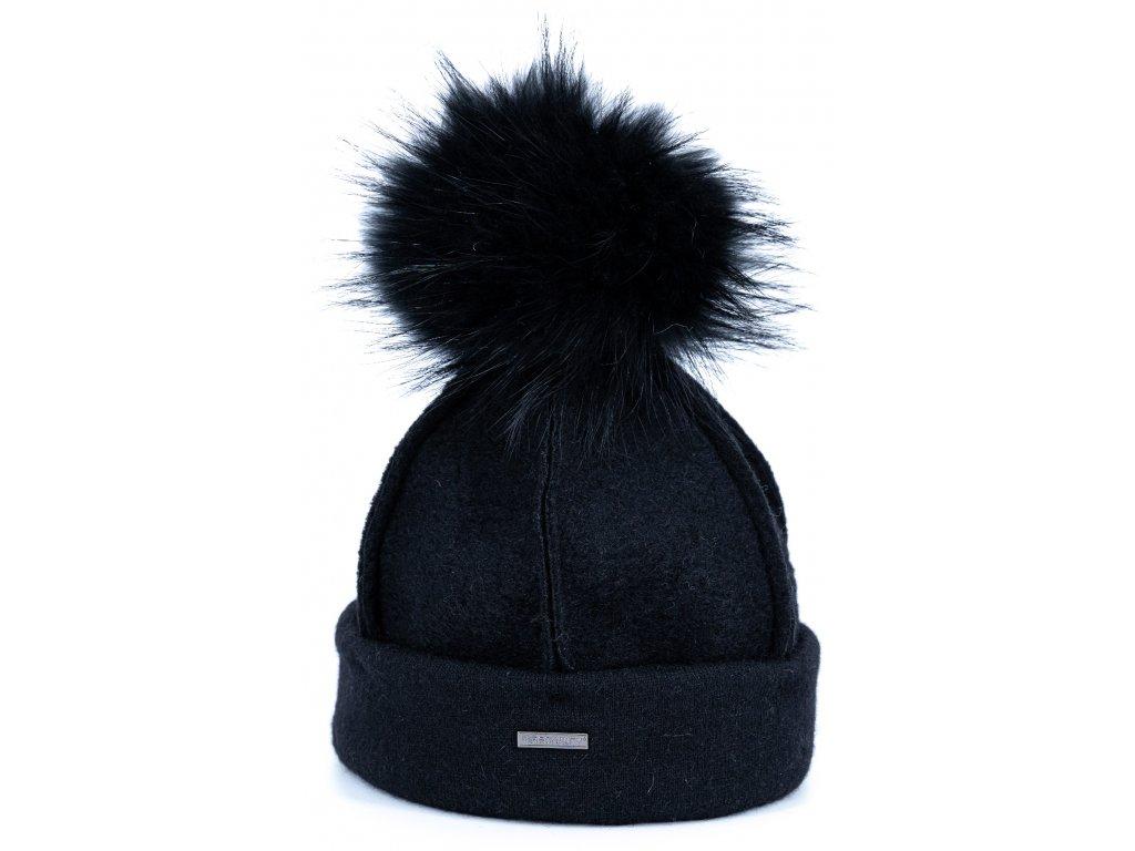 Zimní černá vlněná čepice s kožešinovou bambulí - Personality