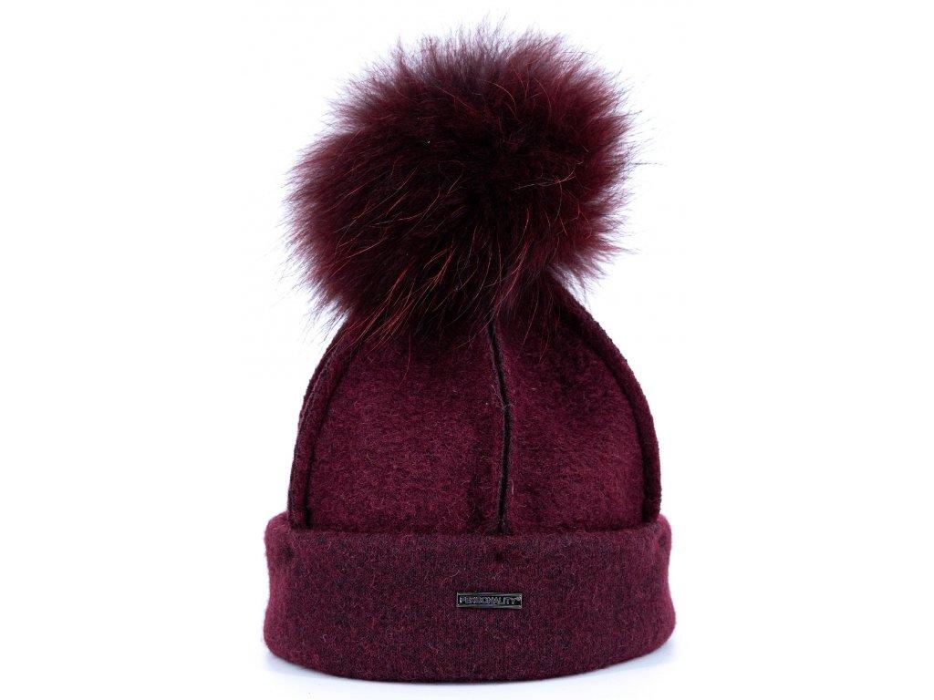 Zimní bordó vlněná čepice s kožešinovou bambulí - Personality