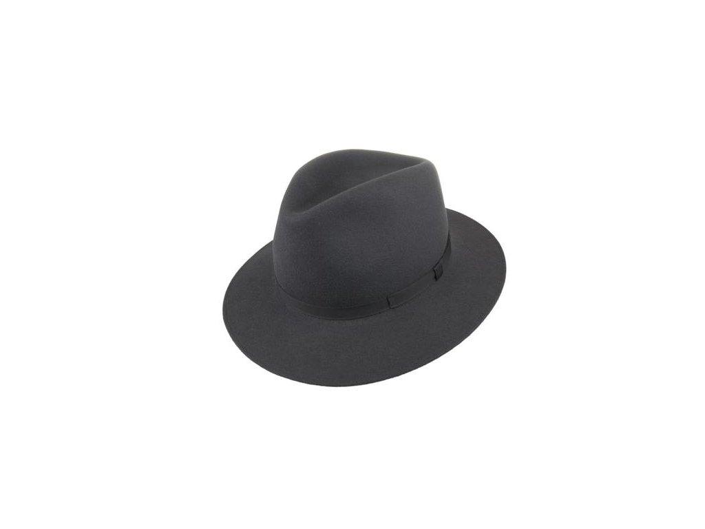 Tmavě šedý plstěný fedora klobouk od Tonak - 12766