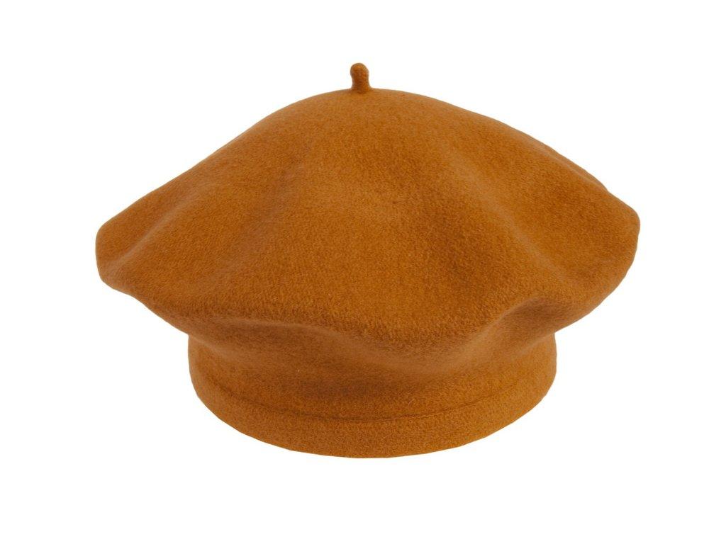 Flora 001 020787 baret pleteny vlneny oranzovy