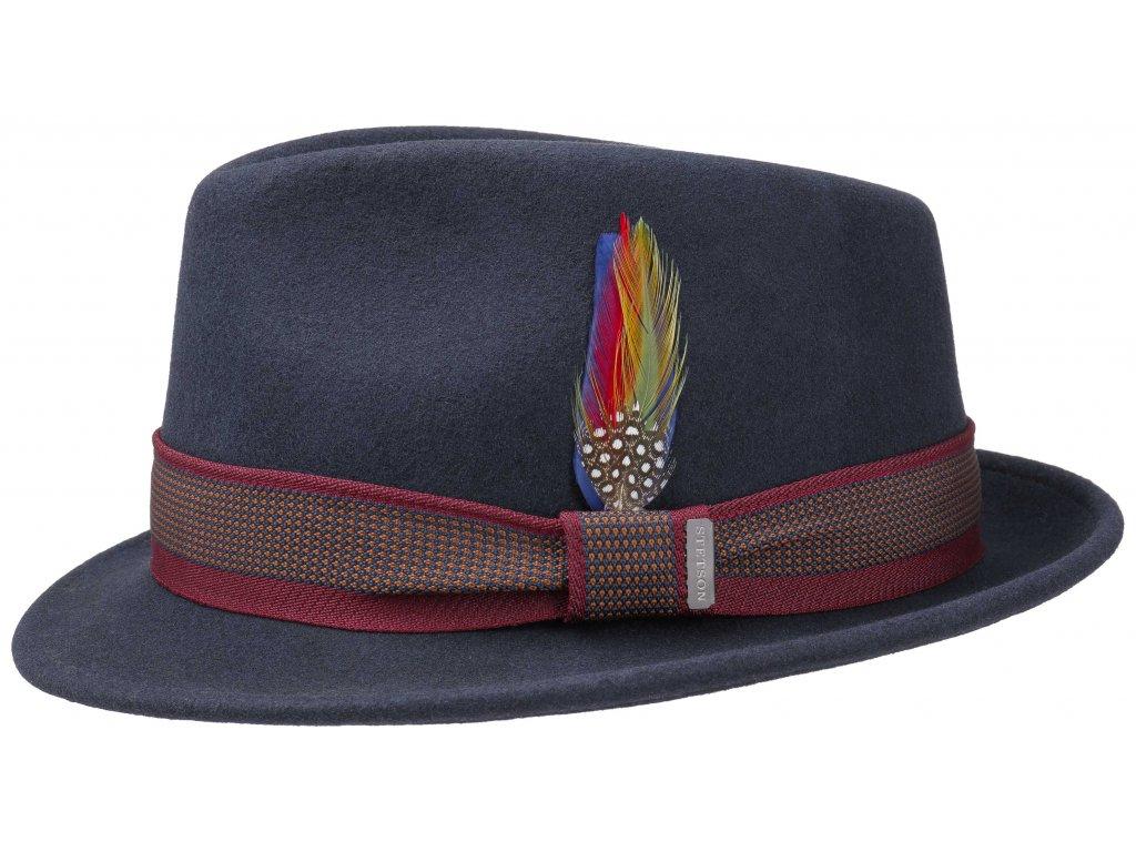Trilby klobouk vlněný Stetson 1238103 - modrý s dvoubarevnou stuhou