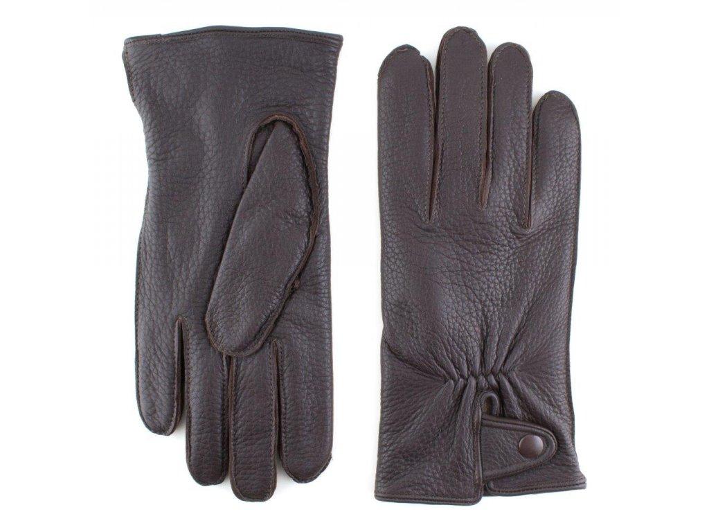 Pánské hnědé kožené rukavice (americký jelen) s vlněnou podšívkou - BOHEMIA GLOVES - 812-6237