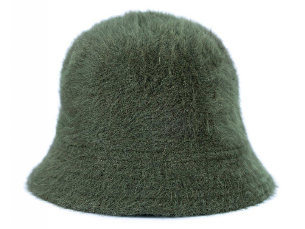 Chlupatý klobouk typu bucket - barva zelená