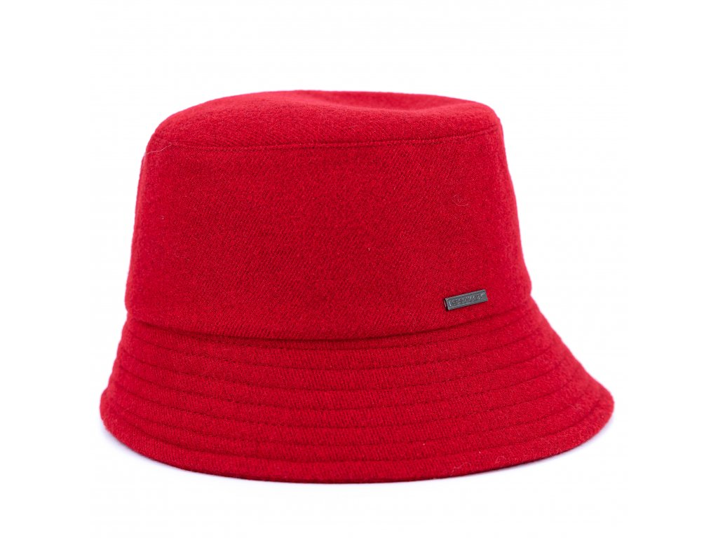Červený dámský klobouček - bucket hat