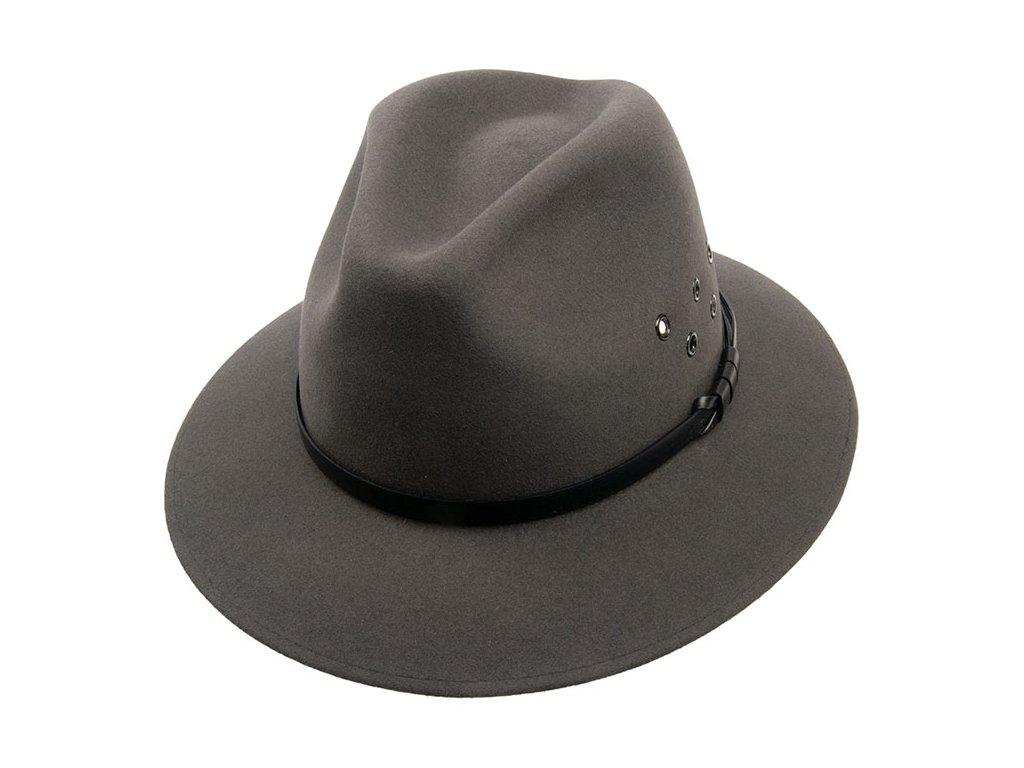 Pánský klobouk plstěný šedý s koženým páskem - Tonak fedora 11925/15