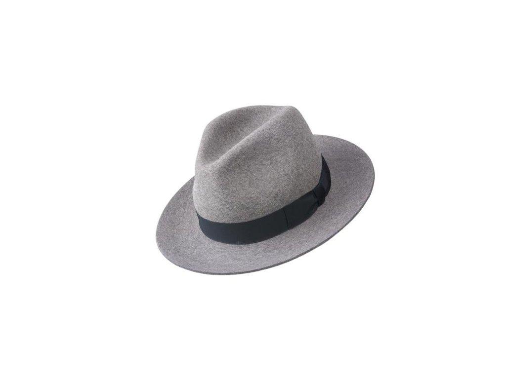 Plstěný šedý klobouk fedora s černou stuhou od Tonak - 12252/16