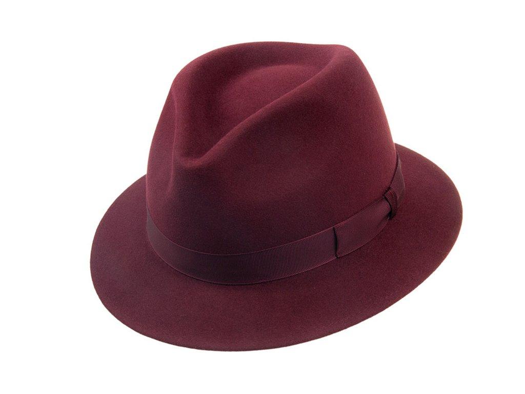 Plstěný bordó klobouk zdobený rypsovou stuhou - Tonak Fedora 12877/19