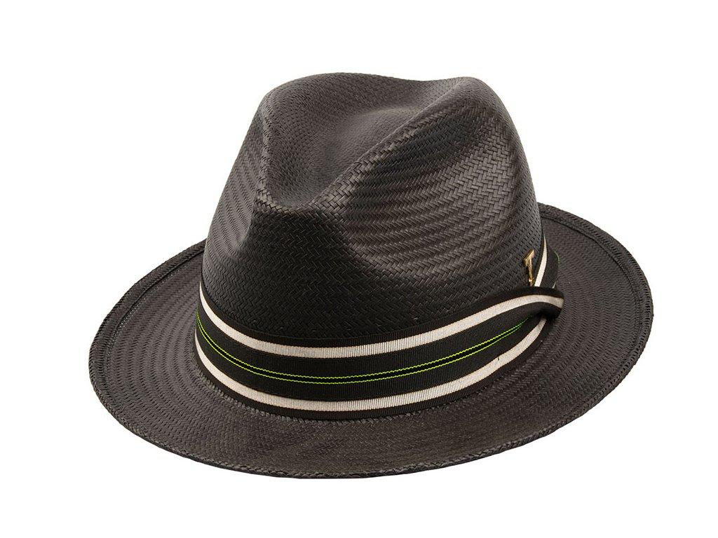Letní slaměný černý klobouk Tonak - 36018