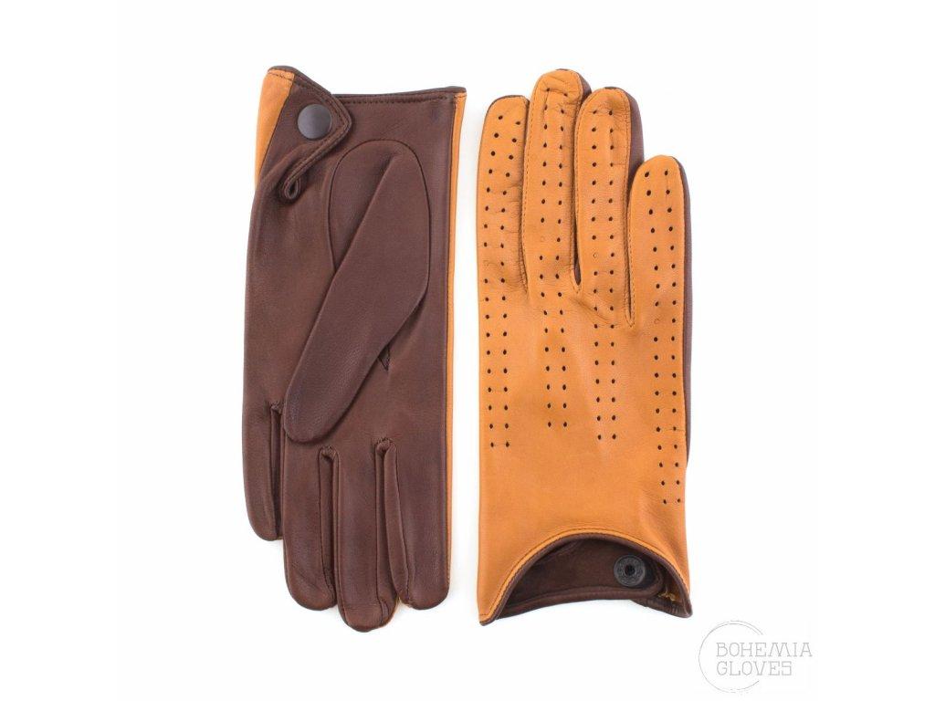Dámské kombinované řidičské kožené rukavice bez podšívky - BOHEMIA GLOVES - 813-6017-béžovohnědá