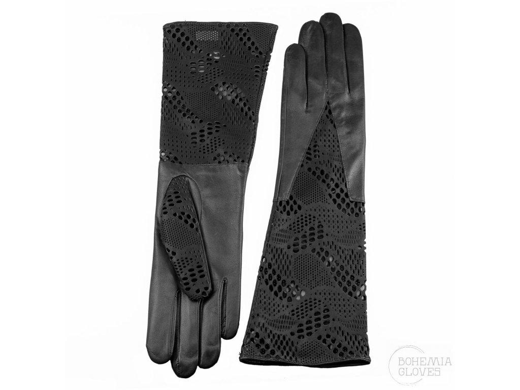 Dámské dlouhé černé kožené rukavice bez podšívky s koženou krajkou (16CM) - BOHEMIA GLOVES - 813-8102