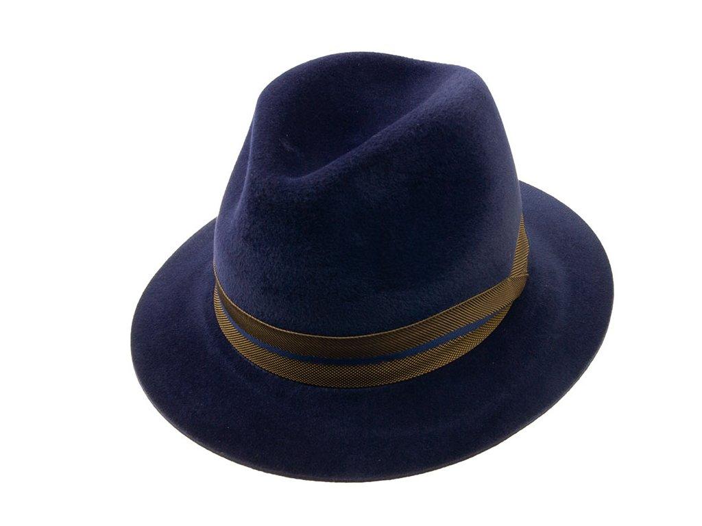 Zimní modrý velurový klobouk Tonak 12560/17 s hnědou stuhou