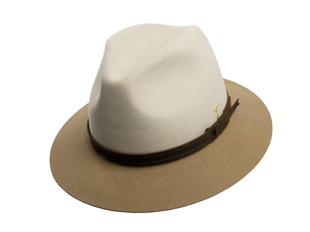 Dvoubarevná krémový plstěný klobouk od Tonak - 12730/18