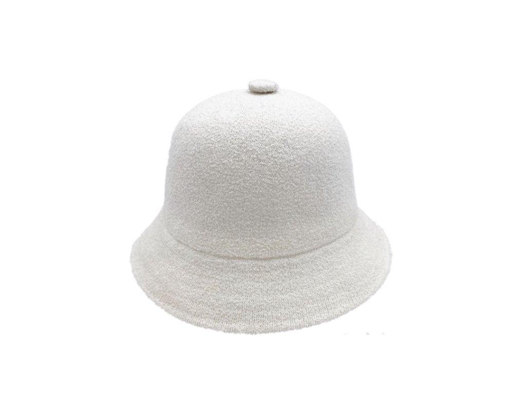 Bily bucket hat klobouk