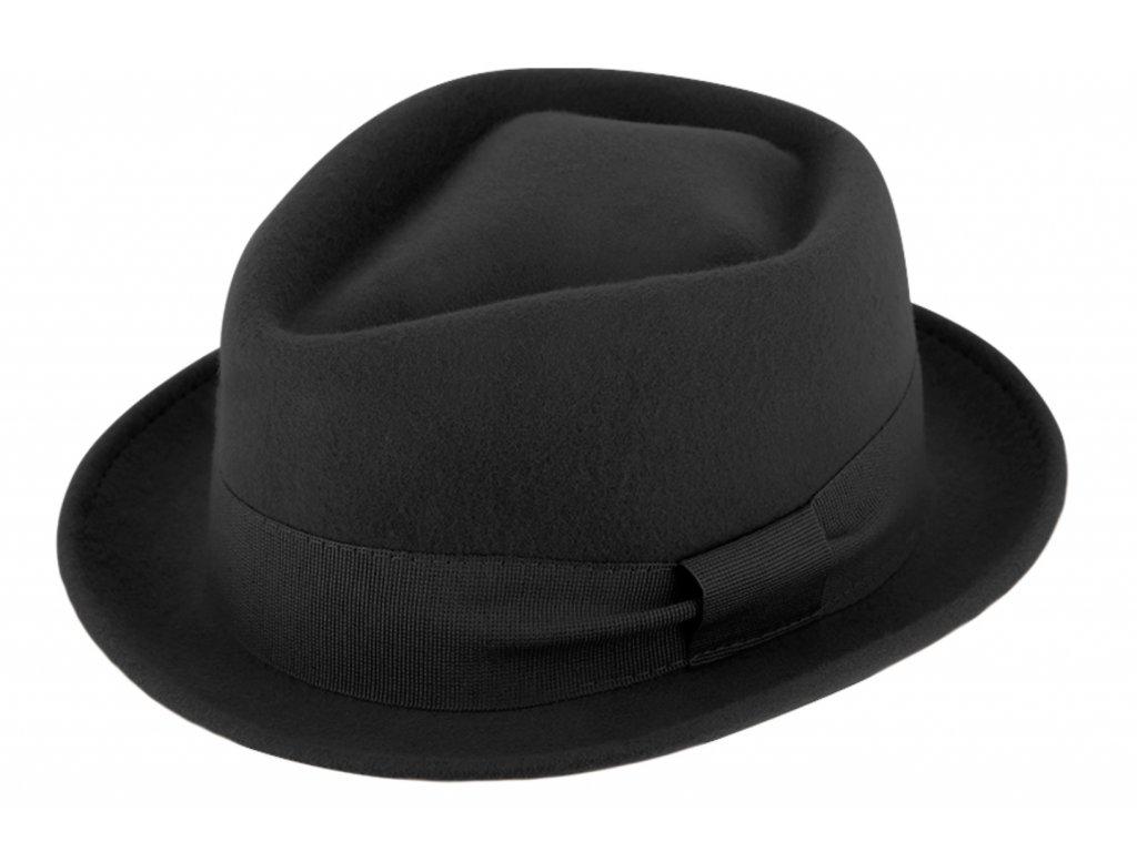 Trilby klobouk vlněný Fiebig  - černý s černou stuhou - Diamond Woolfelt
