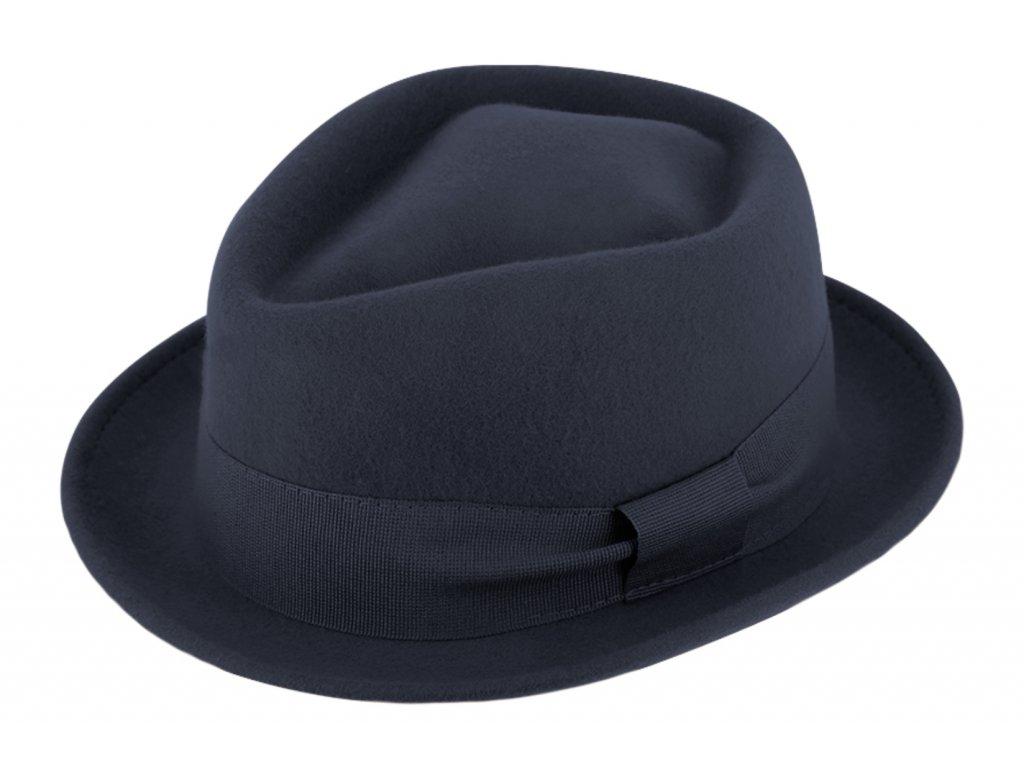 Trilby klobouk vlněný Fiebig  - modrý s modrou stuhou - Diamond Woolfelt
