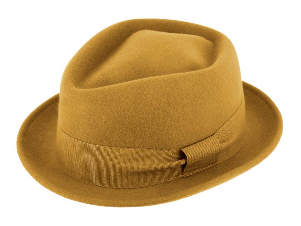 Trilby klobouk vlněný Fiebig  - žlutý s žlutou stuhou - Diamond Woolfelt