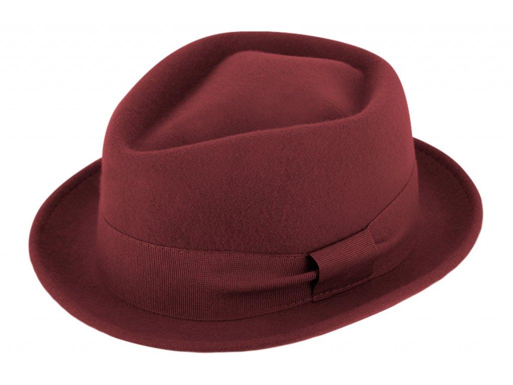Trilby klobouk vlněný Fiebig  - bordó s bordó stuhou - Diamond Woolfelt
