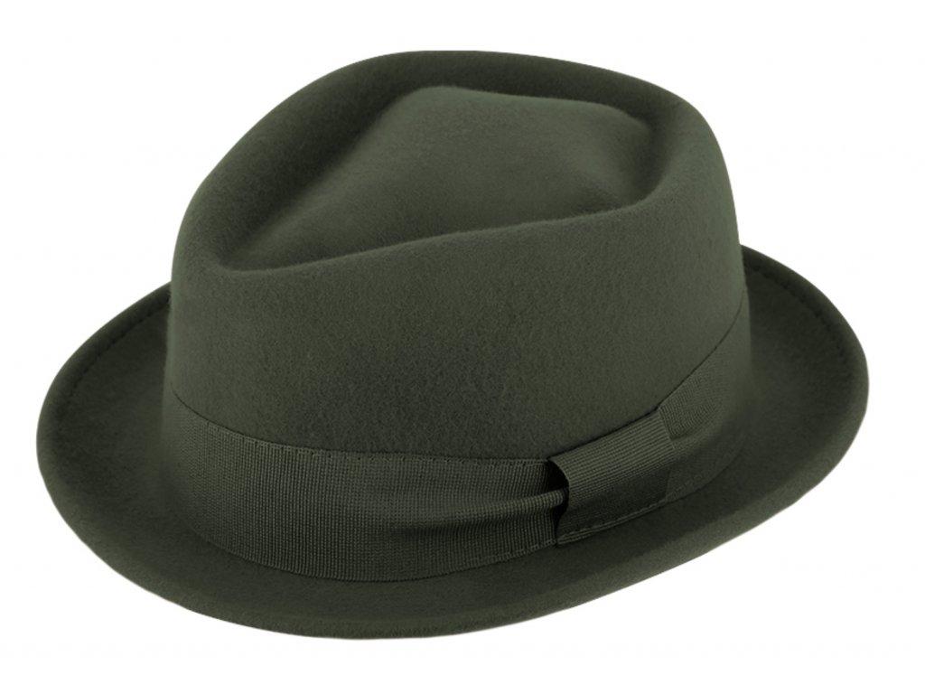 Trilby klobouk vlněný Fiebig  - olivový s olivovou stuhou - Diamond Woolfelt