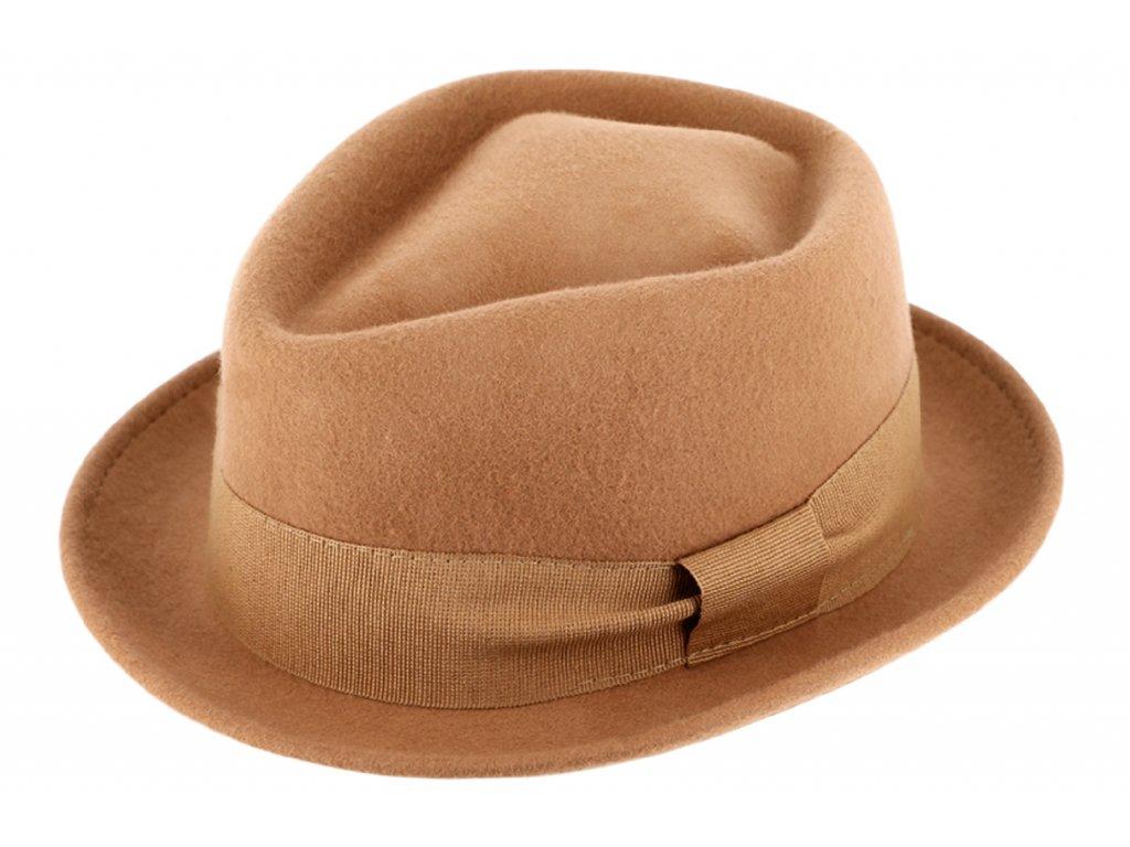 Trilby klobouk vlněný Fiebig  - béžový s béžovou stuhou - Diamond Woolfelt
