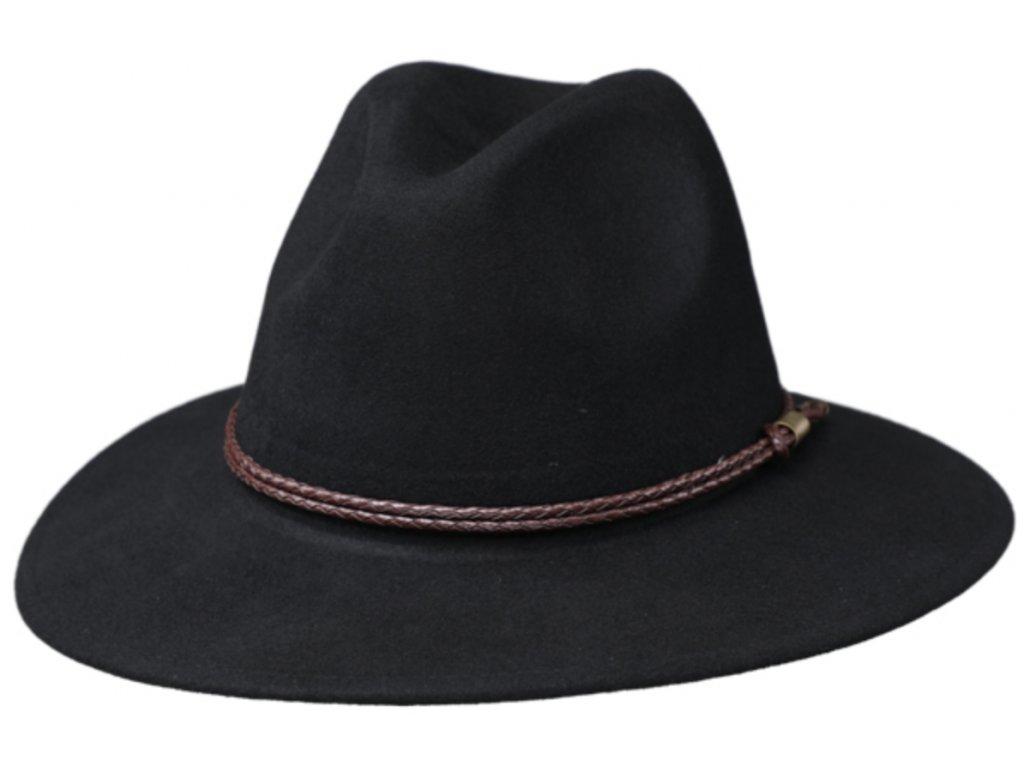 Cestovní klobouk vlněný od Fiebig - černý s koženou stuhou - širší krempa!