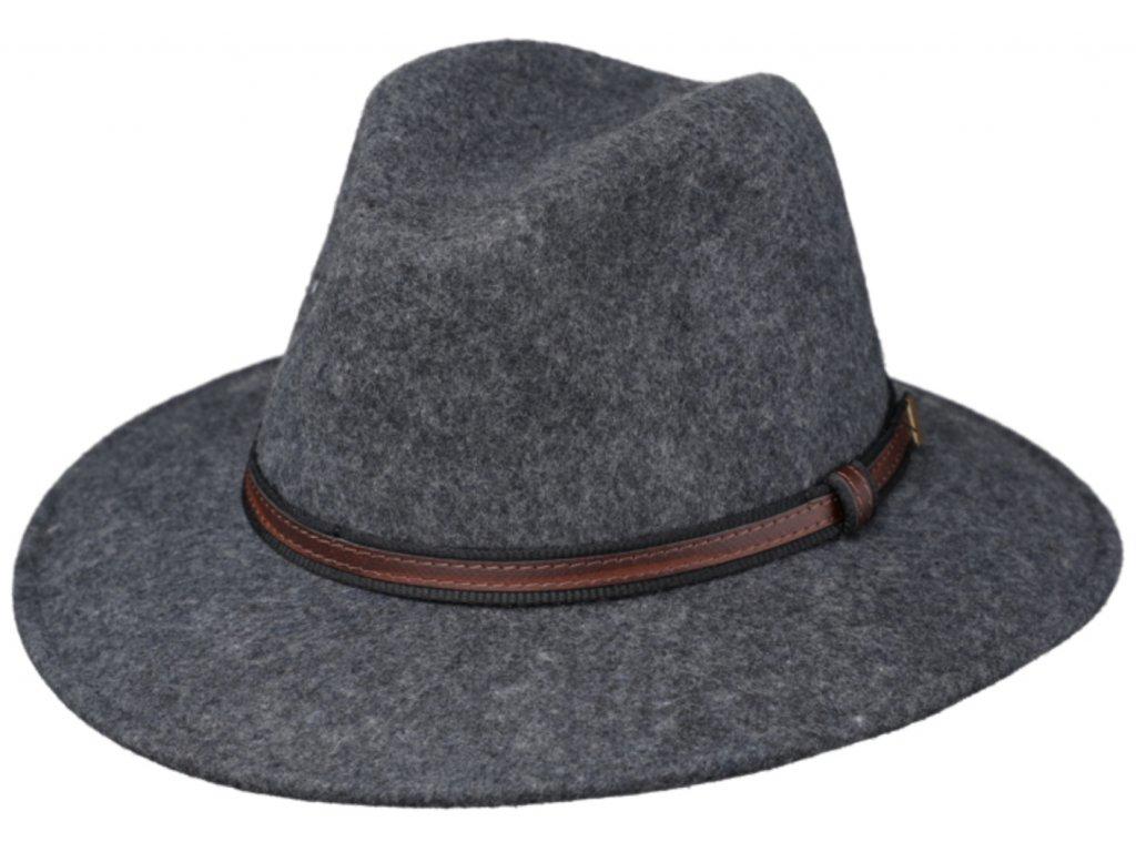 Cestovní klobouk vlněný od Fiebig - šedý s koženou stuhou - širák