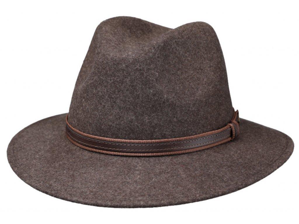 Cestovní klobouk vlněný od Fiebig - hnědý s koženou stuhou - širák