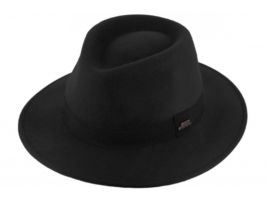 Cestovní nemačkavý klobouk vlněný od Fiebig - černý s černou stuhou